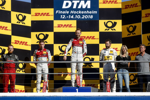 Podium: Race winner René Rast, Audi Sport Team Rosberg, second place Robin Frijns, Audi Sport Team Abt Sportsline and third place Timo Glock, BMW Team RMG.