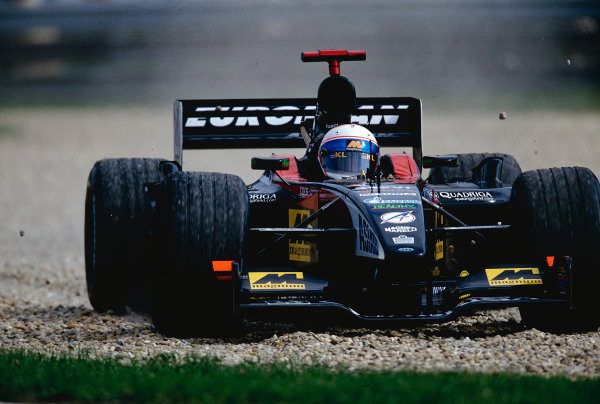 2002 Hungarian Grand Prix.Hungaroring, Budapest, Hungary. 16-18 August 2002.Anthony Davidson (Minardi PS02 Asiatech) did very well on his Grand Prix debut, despite this trip through the gravel trap. Ref-02 HUN 24.World Copyright - Coates/LAT Photographic