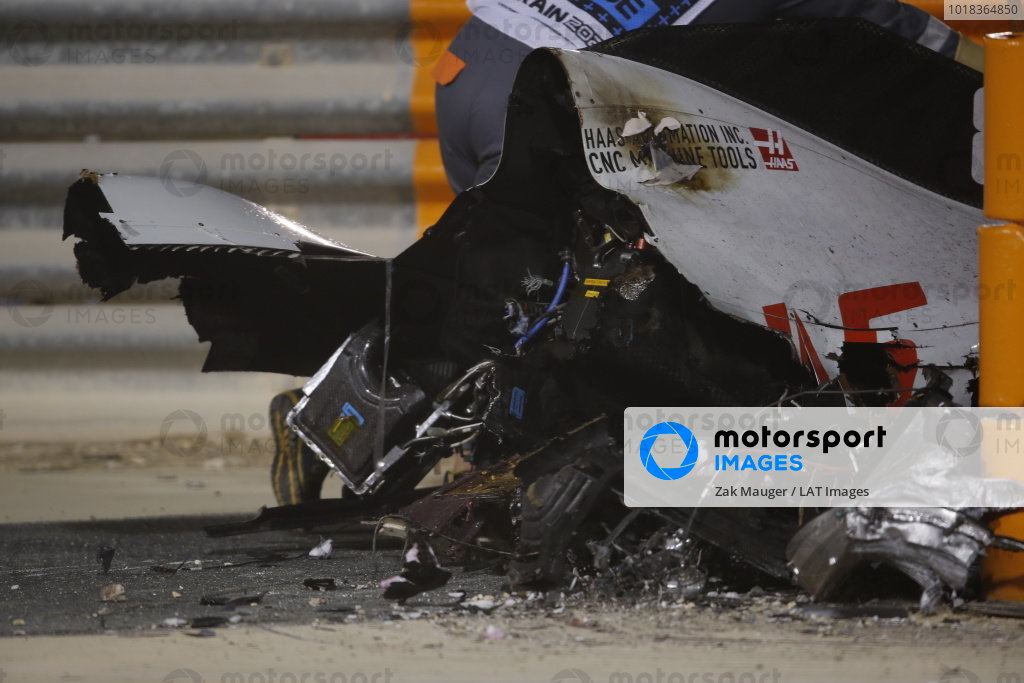 The wrecked car of Romain Grosjean, Haas VF-20, after a big crash on the opening lap