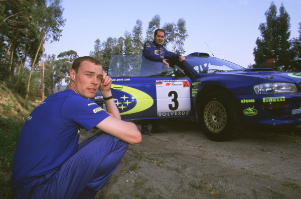 FIA World Rally ChampionshipPortuguese Rally, Porto, Portugal.16-19th March 2000.Richard Burns and Robert Reid with car - Subaru. Portrait.World - LAT PhotographicTel: +44 (0) 181 251 3000Fax: +44 (0) 181 251 3001e-mail: latdig@dial.pipex com