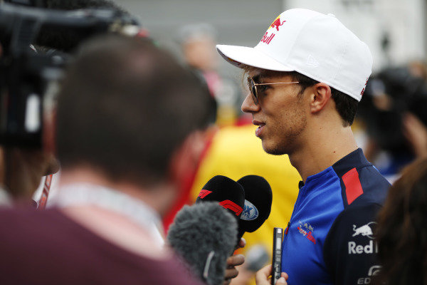 Pierre Gasly, Toro Rosso, talks to the media.