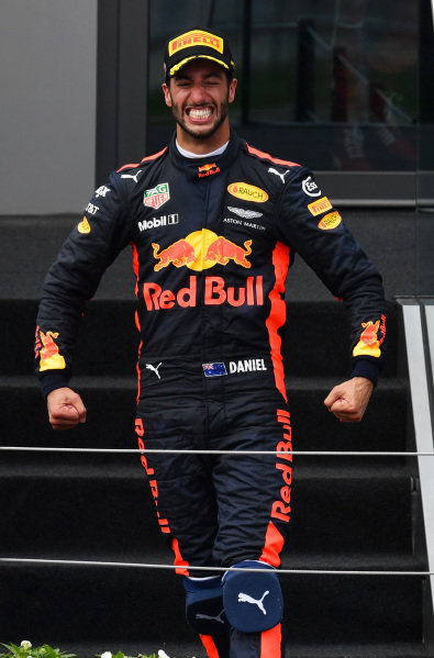 Daniel Ricciardo (AUS) Red Bull Racing celebrates on the podium at Formula One World Championship, Rd9, Austrian Grand Prix, Race, Spielberg, Austria, Sunday 9 July 2017.