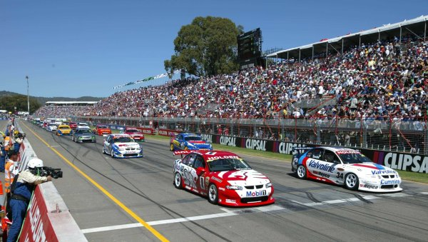 2002 Australian V8 SupercarsAdelaide Clipsal 500. Australia. 17th March 2002.The V8 Supercars line up ion the grid for the start of race 2. Mark Skaife (left) won race 1 and 2 from pole.World Copyright: Mark Horsburgh/LAT Photographicref: Digital Image Only