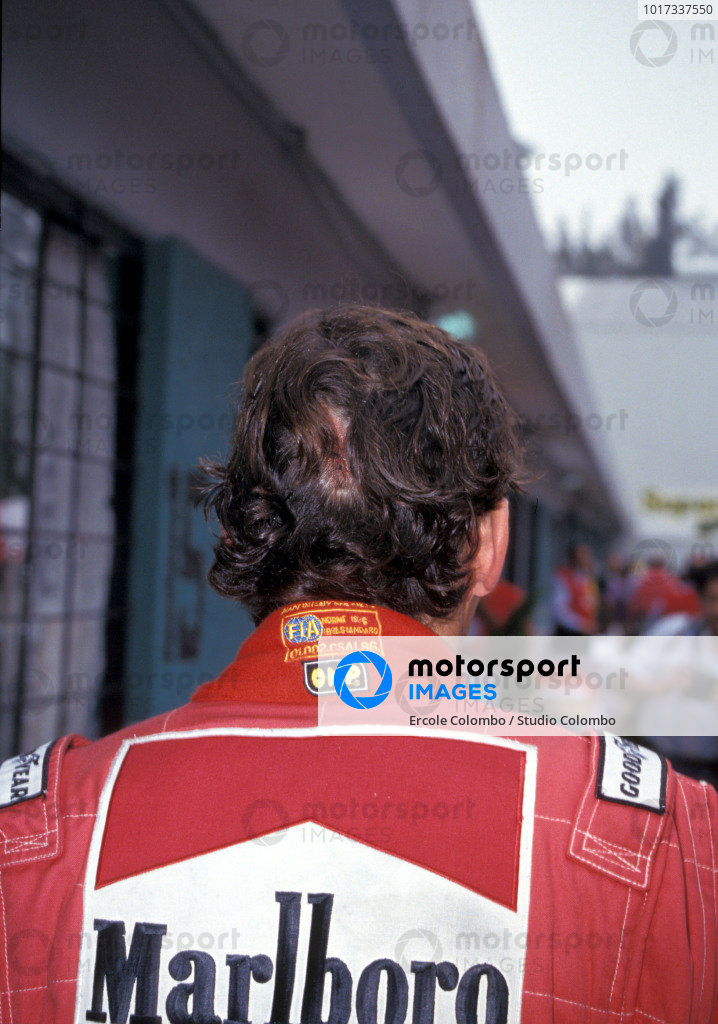Ayrton Senna with cut to his head.