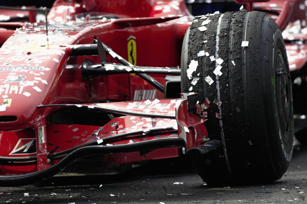 Confetti covers the winning F2007 in parc fermé after the podium ceremony.
