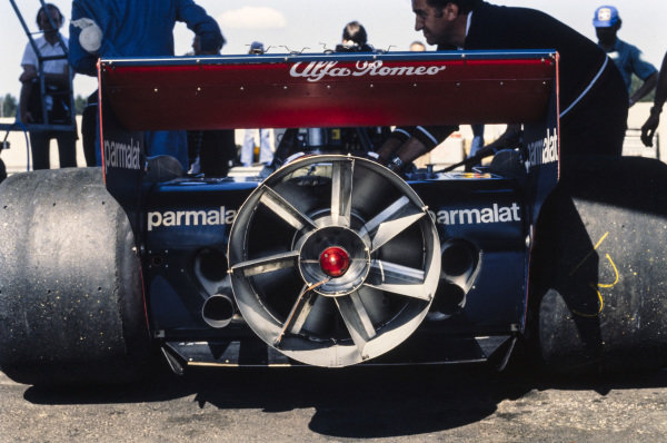 The controversial fan at the rear of the Brabham which ran just the one race.