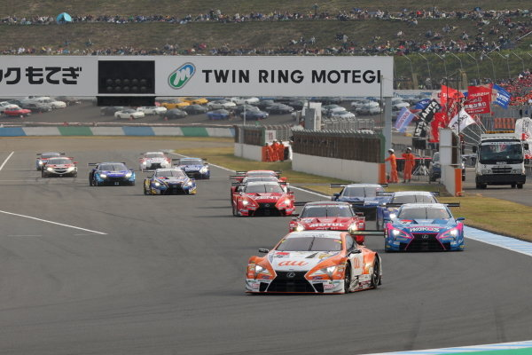 The start of the Super GT race. The Kazuki Nakajima & Yuhi Sekiguchi, Lexus Team au TOM'S LC500 leads the field