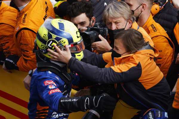 Lando Norris, McLaren, 3rd position, is congratulated after the race