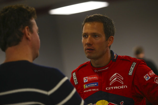 The Citroen WRC team, including Sebastien Ogier, participates in a roundtable media session.