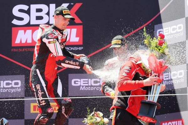 Chaz Davies, Aruba.it Racing-Ducati Team celebrates.