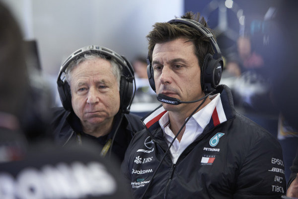 Toto Wolff, Executive Director (Business), Mercedes AMG, and Jean Todt, President, FIA