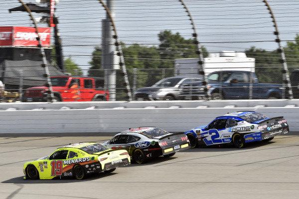 #19: Brandon Jones, Joe Gibbs Racing, Toyota Supra Menards. #2: Brad Keselowski, Team Penske, Ford Mustang Miller Lite