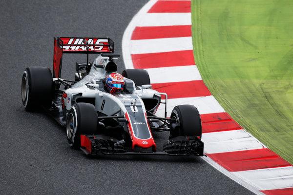 Circuit de Catalunya, Barcelona, Spain. Tuesday 17 May 2016. Romain Grosjean, Haas VF-16.  Photo: Sam Bloxham/LAT Photographic. ref: Digital Image _L4R1965