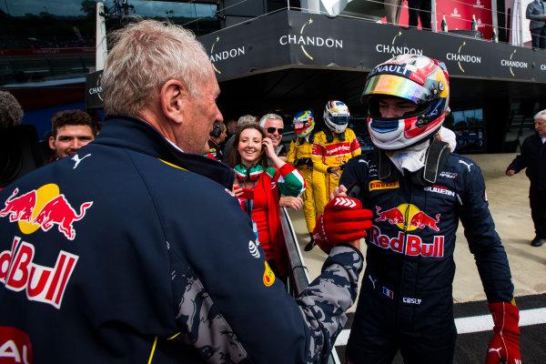 2016 GP2 Series Round 5 Silverstone, Northamptonshire, UK. Saturday 9 July 2016. Helmut Marko congratulates Pierre Gasly (FRA, PREMA Racing)  Photo: Sam Bloxham/GP2 Series Media Service. ref: Digital Image _SBB1884