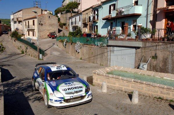 2005 FIA World Rally Championship, Rally Italia Sardinia, April 28-May 1, 2005Olbia, Sardinia.Leg Three.Juuso Pykalisto (FIN) drives through Bortigiadas village on his way to Stage 14.Digital Image