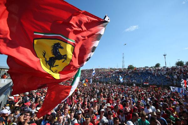 Hungaroring, Budapest, Hungary.  Sunday 30 July 2017. Ferrari fans celebrate after the race. World Copyright: Coates/LAT Images  ref: Digital Image AN7T9783