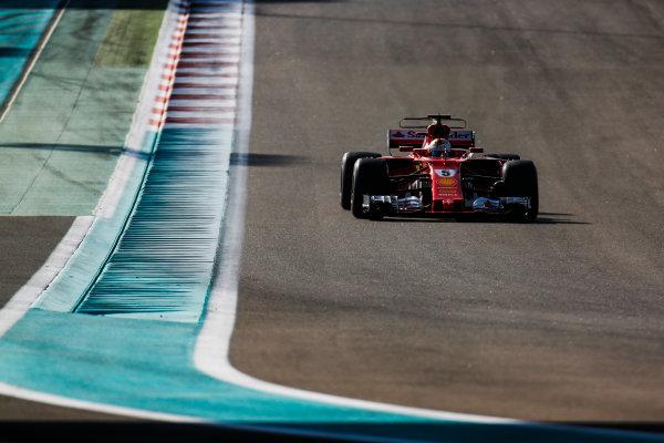 Yas Marina Circuit, Abu Dhabi, United Arab Emirates. Wednesday 29 November 2017. Sebastian Vettel, Ferrari SF70H. World Copyright: Joe Portlock/LAT Images  ref: Digital Image _L5R8397