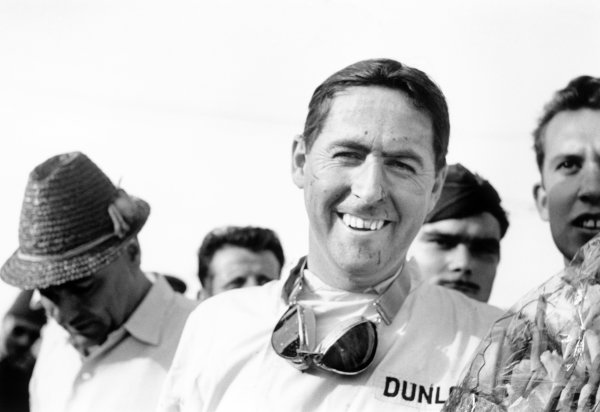 1960 Portuguese Grand Prix.Oporto, Portugal. 12-14 August 1960.Jack Brabham (Cooper T53-Climax), 1st position. Portrait.World Copyright: LAT PhotographicRef: Autosport b&w print