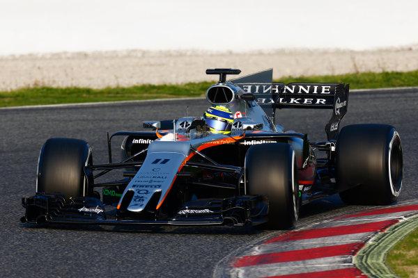 Circuit de Barcelona Catalunya, Barcelona, Spain. Monday 27 February 2017. Sergio Perez, Force India VJM10 Mercedes.  World Copyright: Zak Mauger/LAT Images ref: Digital Image _L0U9825