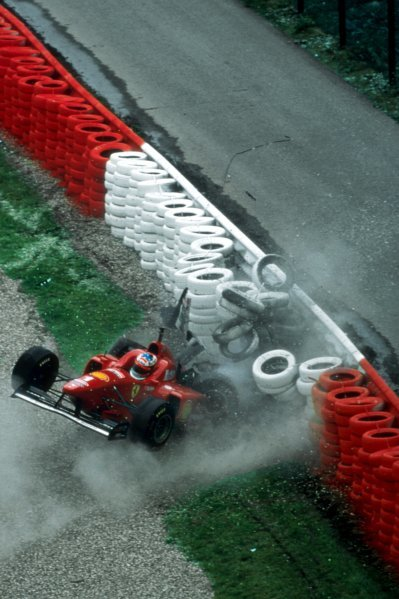 Race winner Michael Schumacher (GER) Ferrari F310 suffered a heavy crash during Friday practice which he emerged from uninjured. Belgian Grand Prix, Rd 13, Spa-Francorchamps, Belgium, 25 August 1996.