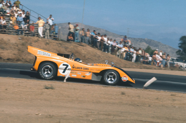 CanAm race. Riverside, California, United States (USA). 1 November 1970.Peter Gethin (McLaren M8D-Chevrolet), retired.World Copyright: LAT PhotographicRef: 70CANAM20