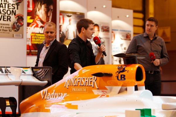 Autosport International Show NEC, Birmingham.  Saturday 12th January 2013. Johnny Herbert, Anthony Davidson and David Croft on the F1 Racing display. World Copyright:Glenn Dunbar/LAT Photographic ref: Digital Image _G7C6298