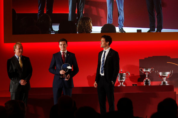 2015 British Racing Drivers Club Awards Grand Connaught Rooms, London Monday 7th December 2015 Jonathan, Will and Jolyon Palmer on stage. World Copyright: Jakob Ebrey/LAT Photographic ref: Digital Image Palmers-01