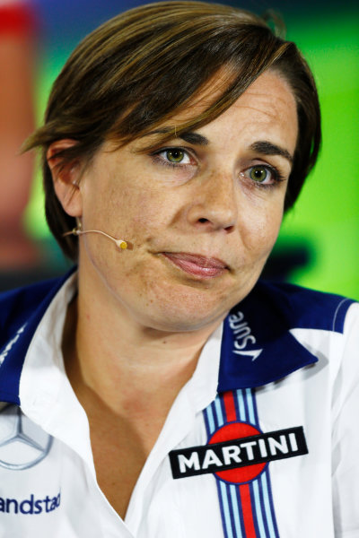 Silverstone Circuit, Northamptonshire, England. Friday 3 July 2015. Claire Williams, Deputy Team Principal, Williams F1, in the Team Principals Press Conference. World Copyright: Andrew Ferraro/LAT Photographic ref: Digital Image _FER1994