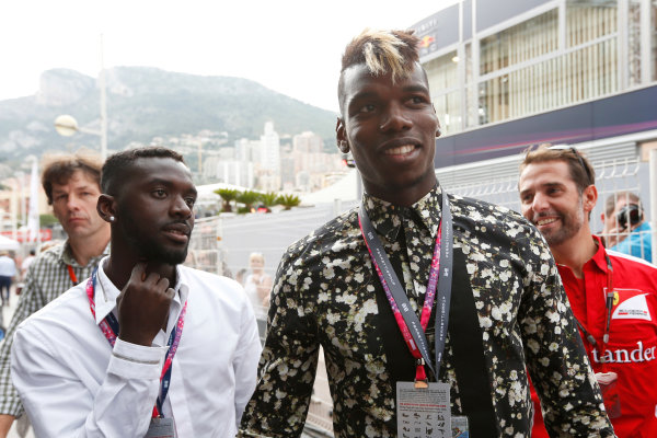 Monte Carlo, Monaco. Sunday 24 May 2015. Paul Pogba of Juventus visits the paddock. World Copyright: Alastair Staley/LAT Photographic. ref: Digital Image _79P7028