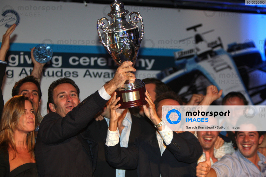 (L to R): Alessandro Agag (ESP) Campos Racing and Adrian Campos (ESP) on stage with their trophy. GP2 Series Prize Giving featuring the Winning Attitudes Awards, Sporting Club Monza, Italy, 14 September 2008.