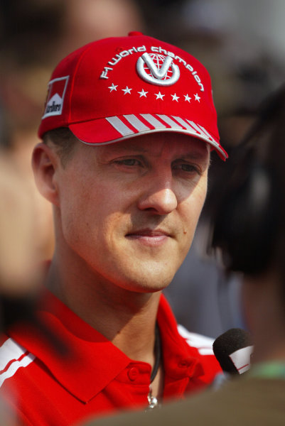 2004 Italian Grand Prix - Thursday,Monza, Italy. 09th September 2004Michael Schumacher, Ferrari F2004, portrait. World Copyright: Steve Etherington/LAT Photographic ref: Digital Image Only