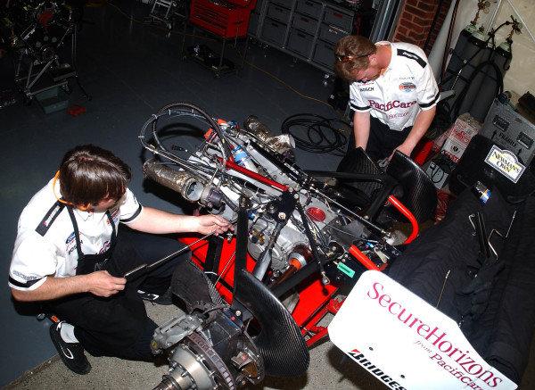 2003 ChampCar Series 3-5 May 2003London Trophy at Brands Hatch, EnglandNewman Haas crew working on gear box2003-Dan R. Boyd USA LAT Photography