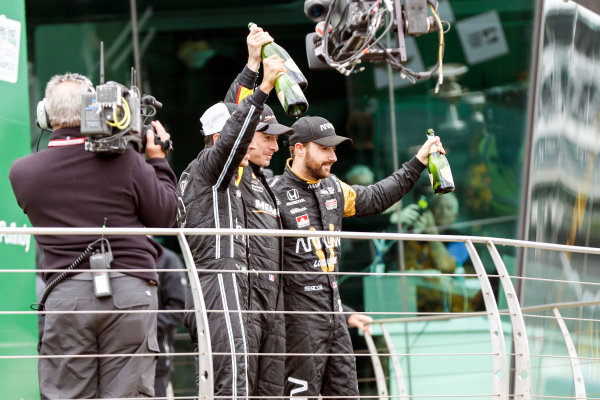 12-14 May, 2016, Indianapolis, Indiana, USA Helio Castroneves, Simon Pagenaud, James Hinchcliffe celebrate with champagne  ?2016, Sam Cobb LAT Photo USA