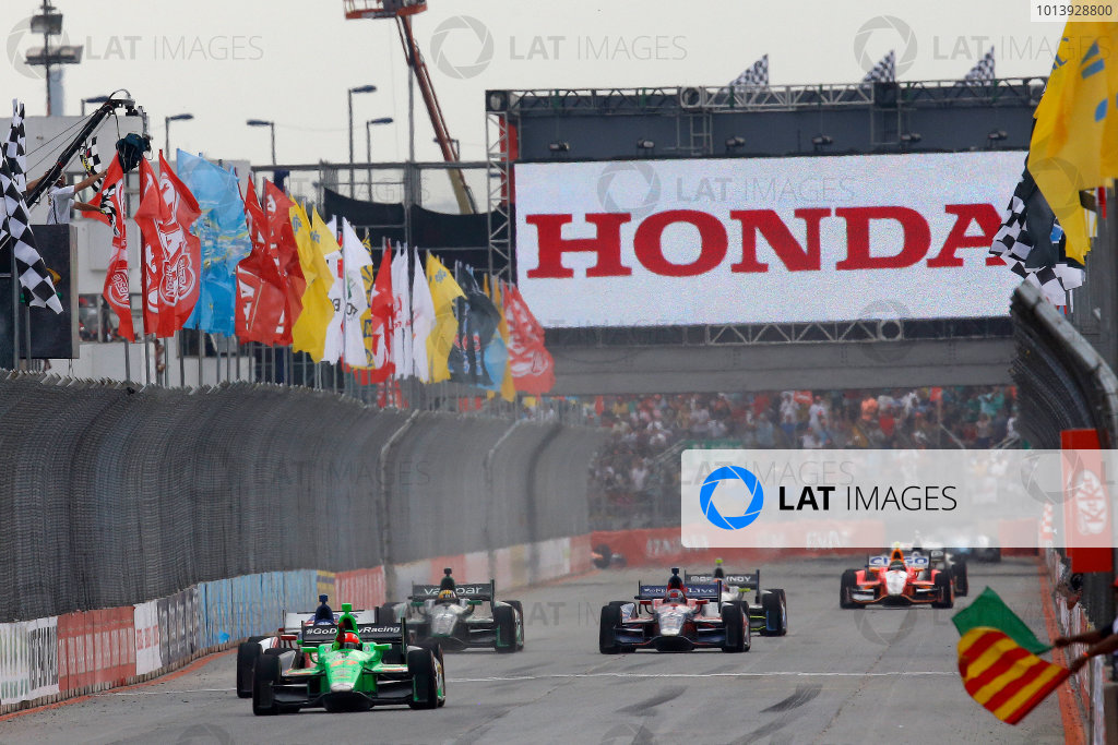 4-5 May, 2013, Sao Paulo, Brazil James Hinchcliffe takes the checkered flag and win © 2013, Michael L. Levitt LAT Photo USA.