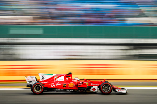 Silverstone, Northamptonshire, UK.  Friday 14 July 2017. Sebastian Vettel, Ferrari SF70H. World Copyright: Glenn Dunbar/LAT Images  ref: Digital Image _31I3445