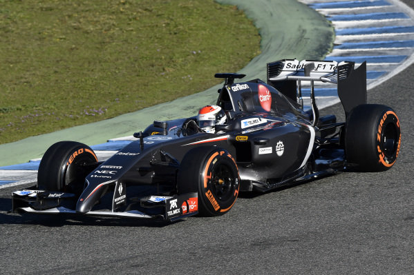 Adrian Sutil (GER) Sauber C33. Formula One Testing, Jerez, Spain, Day Three, Thursday 30 January 2014.