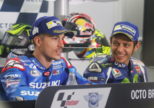 2016 MotoGP Championship.  British Grand Prix.  Silverstone, England. 2nd - 4th September 2016.  Maverick Vinales, Suzuki, and Valentino Rossi, Yamaha, during the press conference.  Ref: _W7_9674a. World copyright: Kevin Wood/LAT Photographic