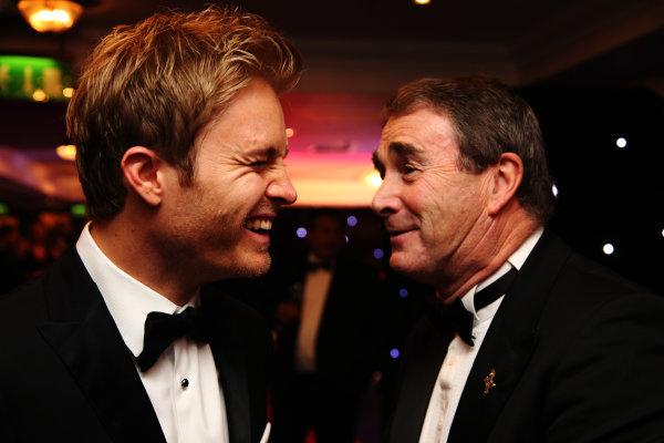 2016 Autosport Awards. Grosvenor House Hotel, Park Lane, London. Sunday 4 December 2016.  Nico Rosberg, Mercedes AMG in conversation with Nigel Mansell.  World Copyright: /LAT Photographic. ref: Digital Image JL3_1962