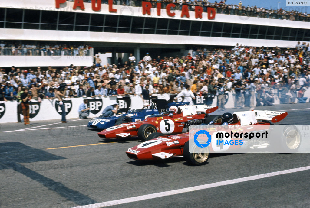 Paul Ricard, Le Castellet, France. 2-4 July 1971.Jackie Stewart (Tyrrell 003-Ford), 1st position, leads Clay Regazzoni (Ferrari 312B2), retired,  and Jacky Ickx (Ferrari 312B2), retired,  lead away from the front row at the start, action. World Copyright: LAT PhotographicRef: Colour Transparency.