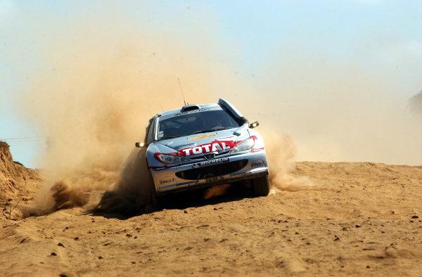 2002 World Rally Championship.Safari Rally, Nairobi Kenya, July 11-14th.Gilles Panizzi on section 11.Photo: Ralph Hardwick/LAT