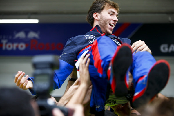 Pierre Gasly, Toro Rosso celebrates his third place