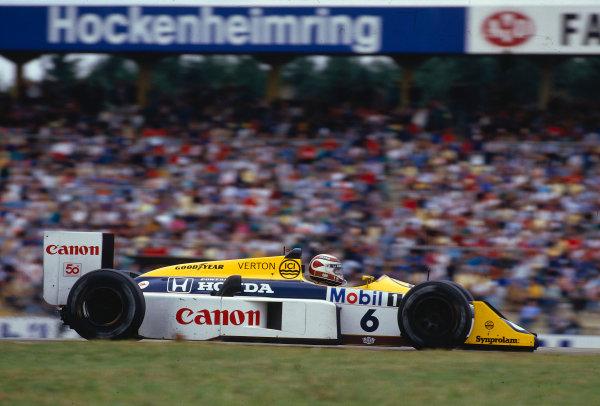 1987 German Grand Prix.Hockenheim, Germany.24-26 July 1987.Nelson Piquet (Williams FW11B Honda) 1st position.Ref-87 GER 21.World Copyright - LAT Photographic