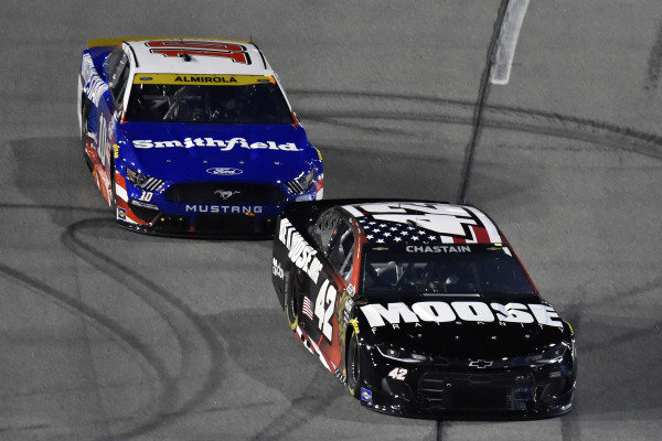#42: Ross Chastain, Chip Ganassi Racing, Chevrolet Camaro Moose Fraternity and #10: Aric Almirola, Stewart-Haas Racing, Ford Mustang Smithfield/Tuesday's Children
