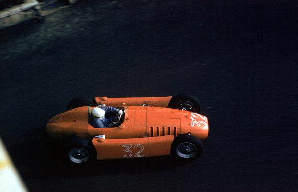 1955 Monaco Grand Prix.Monte Carlo, Monaco.19-22 May 1955.Louis Chiron (Lancia D50) 6th position.Ref-55 MON 05.World Copyright - LAT Photographic