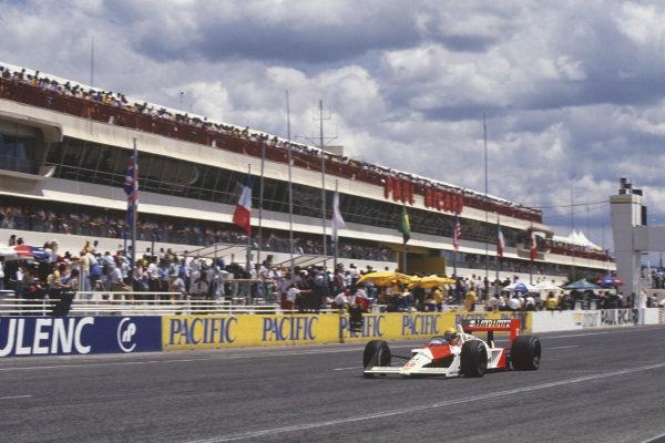 Paul Ricard, Le Castellet, France. 1st - 3rd July 1988. Ayrton Senna (McLaren MP4/4-Honda), 2nd position, action.  World Copyright: LAT Photographic. Ref: 88FRA 28