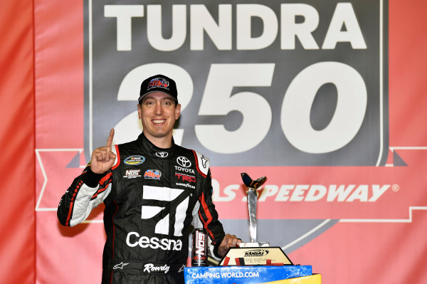 NASCAR Camping World Truck Series Toyota Tundra 250 Kansas Speedway, Kansas City, KS USA Friday 12 May 2017 Kyle Busch, Cessna Toyota Tundra celebrates his win in Victory Lane World Copyright: Nigel Kinrade LAT Images ref: Digital Image 17KAN1nk07193