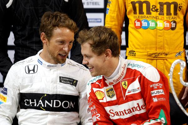 2017 Race of Champions Miami, Florida, USA Saturday 21 January 2017 Jenson Button and Sebastian Vettel World Copyright: Alexander Trienitz/LAT Photographic ref: Digital Image 2017-RoC-MIA-AT2-0833