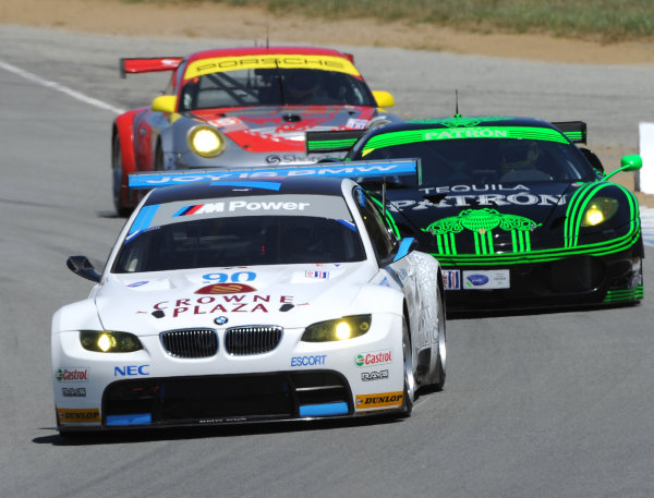 20-22 May, 2010, Monterey, California, USA.#90 BMW Rahal Letterman Racing BMW M3 GT, #02 Ferrari and #45 Porsche.©Dan R. Boyd, USA LAT Photographic.