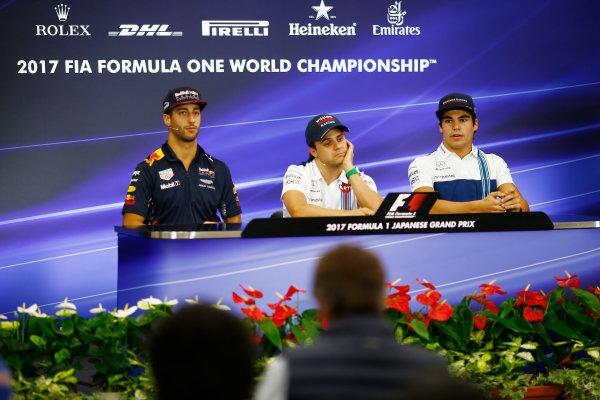 Suzuka Circuit, Japan. Thursday 05 October 2017. Daniel Ricciardo, Red Bull Racing, Felipe Massa, Williams Martini Racing, and Lance Stroll, Williams Martini Racing, in the press conference. World Copyright: Andy Hone/LAT Images  ref: Digital Image _ONZ1107