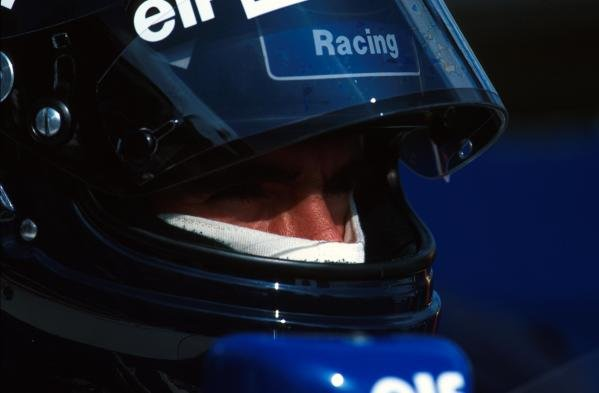 Damon Hill gathers his thoughts before putting his Williams on pole position. British Grand Prix, Silverstone, 10 July 1994